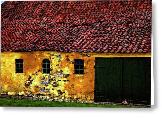 Danish Barn Watercolor Version Greeting Card by Steve Harrington