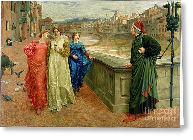 Medieval Greeting Cards - Dante and Beatrice Greeting Card by Henry Holiday