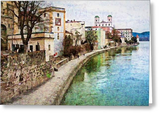 Danube River At Passau, Germany Greeting Card
