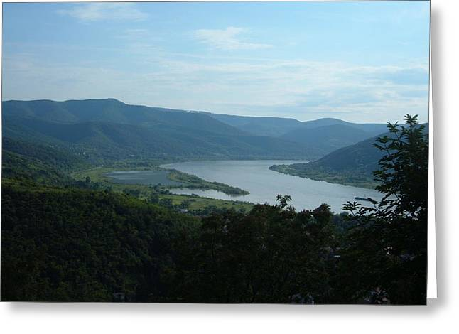 Danube River Bend Greeting Card by Helena Helm