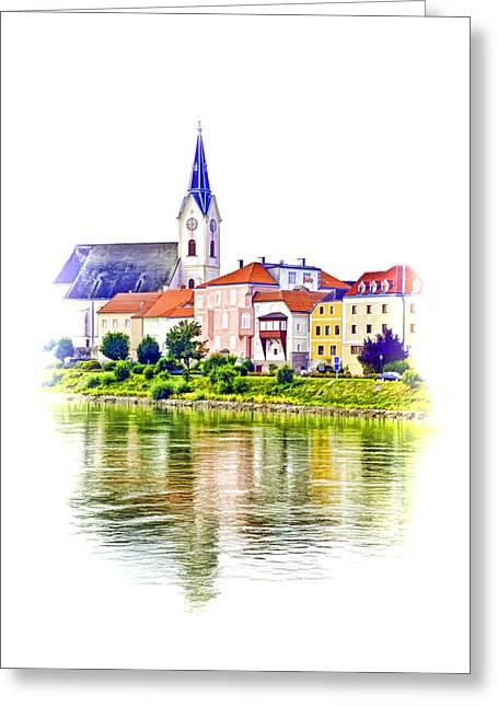Danube Village Greeting Card by Dennis Cox WorldViews