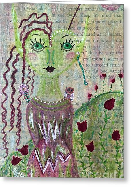 Greeting Card featuring the painting Daphne by Julie Engelhardt