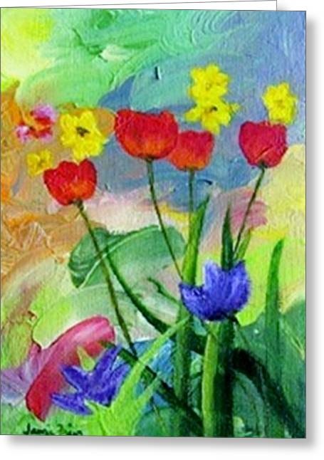 Greeting Card featuring the painting Daria's Flowers by Jamie Frier