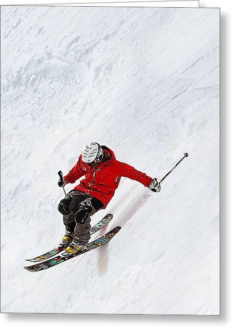 Daring Skier Flying Down A Steep Slope Greeting Card