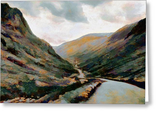 Dark And Moody Honister Pass In Cumbria Greeting Card