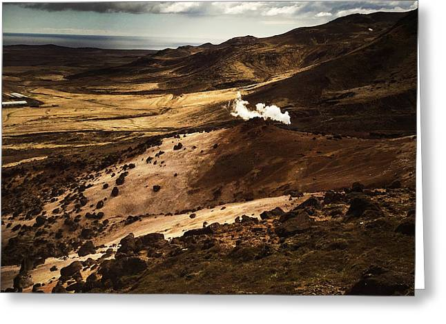 Dark And Steaming Iceland Greeting Card