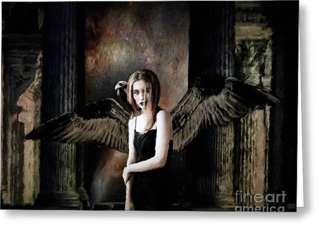 Dark Angel By Sarah Kirk Greeting Card by Sarah Kirk