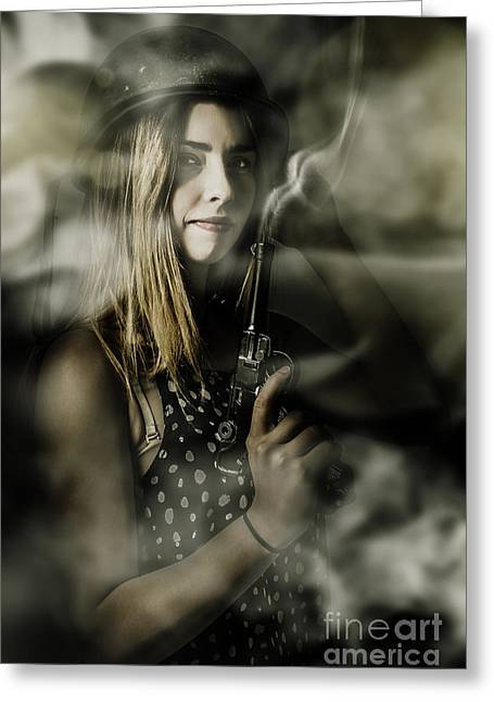 Dark Artwork Of A Female Soldier In Pistol Smoke Greeting Card by Jorgo Photography - Wall Art Gallery