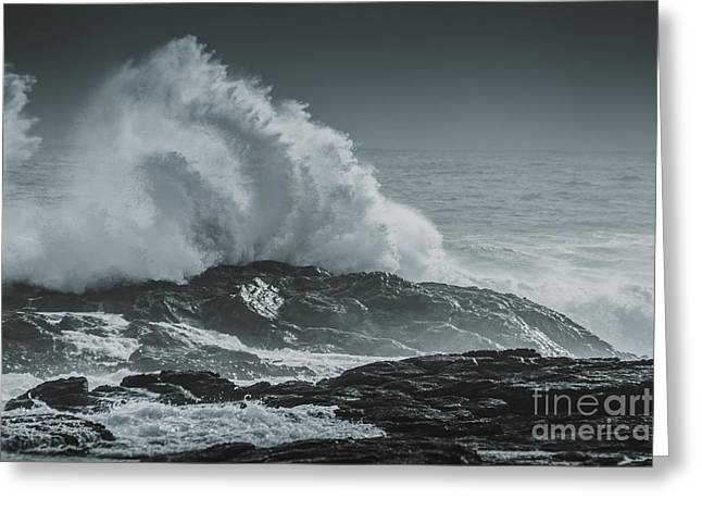 Dark Atmospheric Coastline Greeting Card by Jorgo Photography - Wall Art Gallery