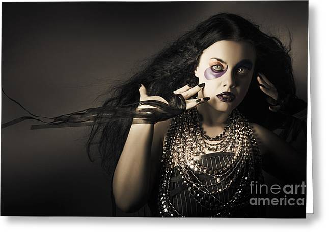 Dark Beauty Woman. Rich Jewellery And Black Nails Greeting Card