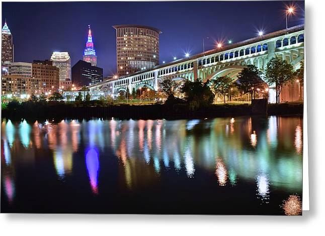 Dark Blue Night In Cle Greeting Card by Frozen in Time Fine Art Photography