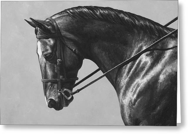 Dark Brown Dressage Horse Black And White Greeting Card by Crista Forest