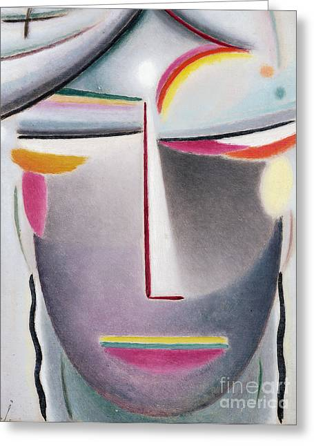Dark Buddha Greeting Card by Alexej von Jawlensky