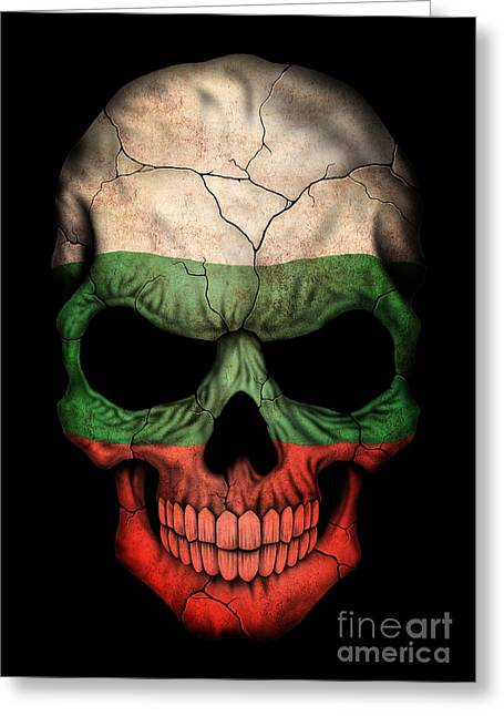 Dark Bulgarian Flag Skull Greeting Card by Jeff Bartels