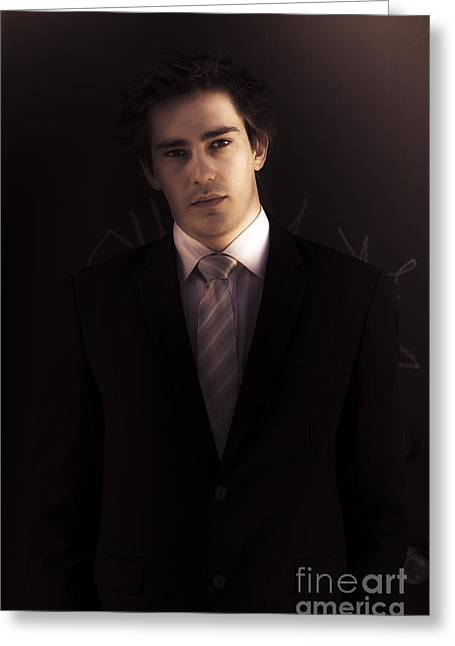 Dark Business Man Standing In Shadows Greeting Card
