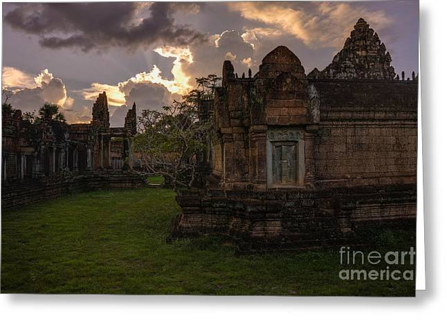Dark Cambodian Temple Greeting Card by Mike Reid