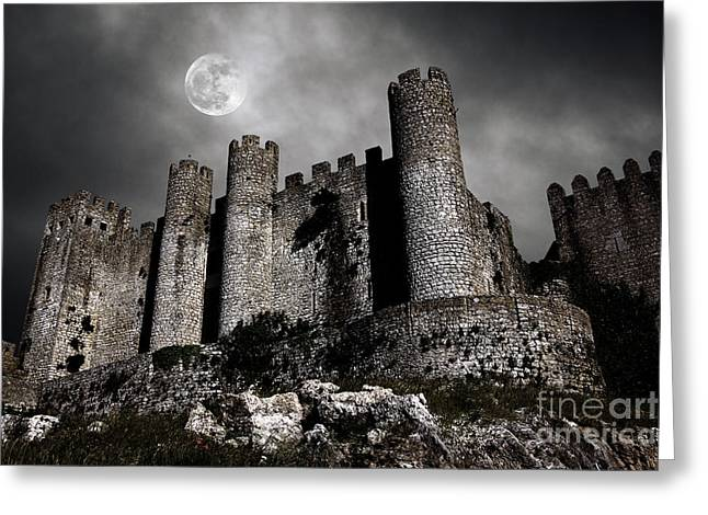 Creepy Greeting Cards - Dark Castle Greeting Card by Carlos Caetano