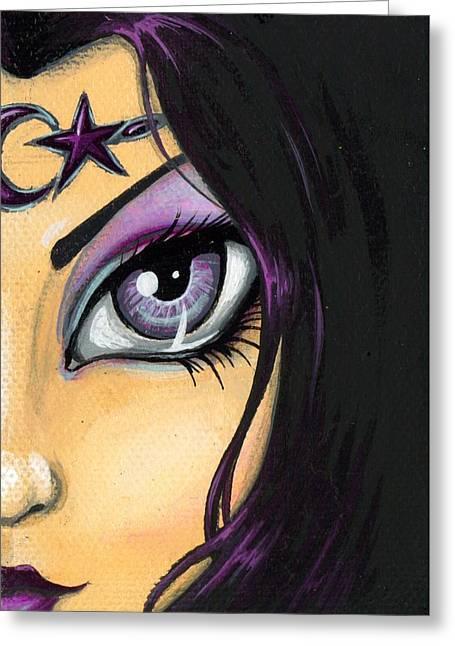 Dark Celestial Goddess Greeting Card by Elaina  Wagner