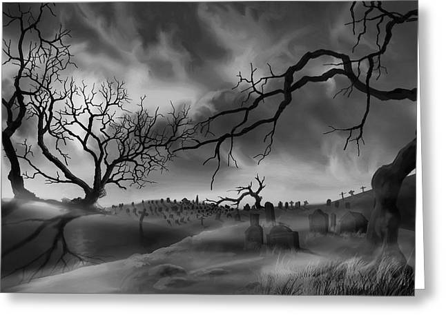 Dark Cemetary Greeting Card by James Christopher Hill