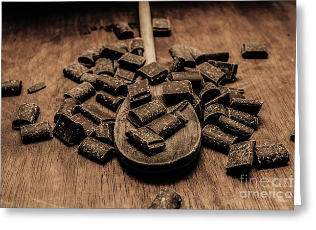 Dark Chocolate Chips Greeting Card by Jorgo Photography - Wall Art Gallery