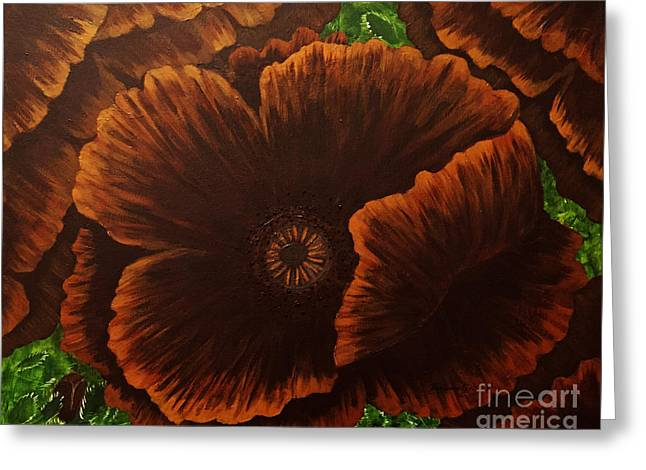 Dark Chocolate Poppies Greeting Card by Barbara Griffin