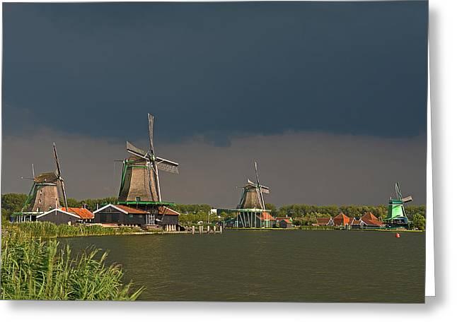 Dark Clouds Above Zaanse Schans Greeting Card