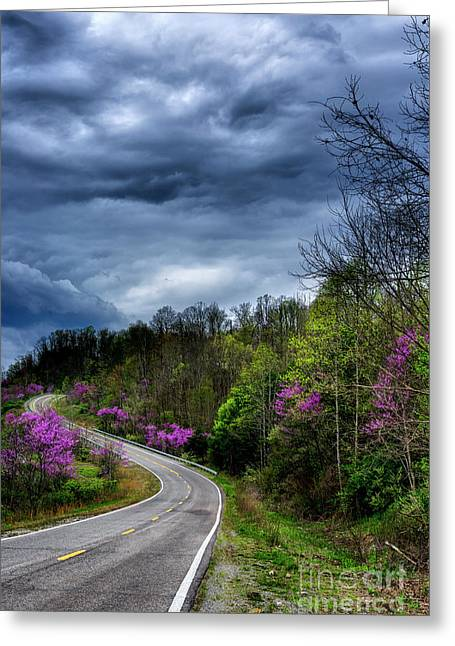 Dark Clouds Over Redbud Highway Greeting Card