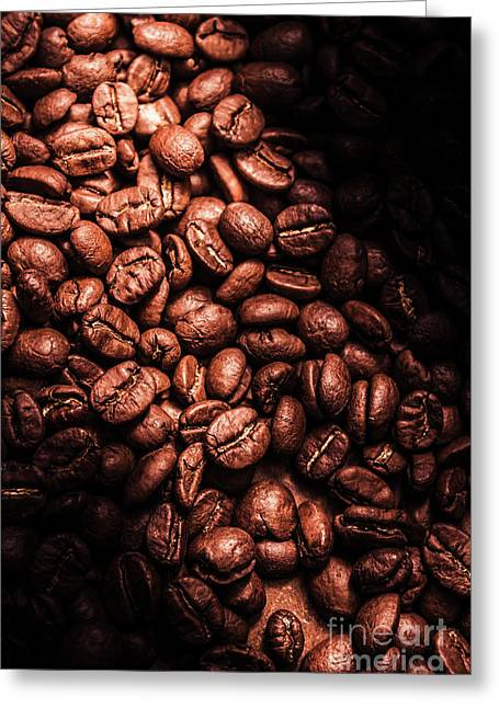 Dark Coffee Beans Background Greeting Card by Jorgo Photography - Wall Art Gallery