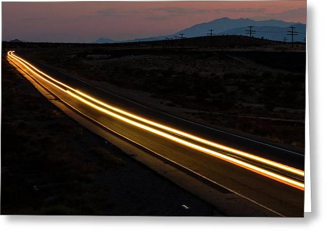 Dark Desert Highway Greeting Card