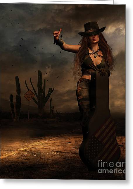 Greeting Card featuring the digital art Dark Desert Highway by Shanina Conway