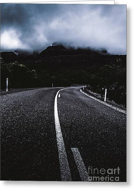 Dark Dramatic Blue Road Through Sinister Mountains Greeting Card by Jorgo Photography - Wall Art Gallery
