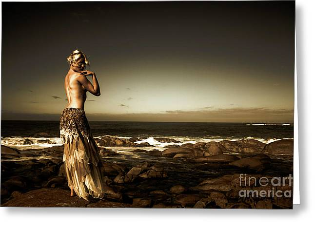 Dark Dramatic Fine Art Beauty Greeting Card