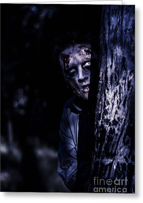Dark Evil Zombie Watching From Horror Forest Greeting Card by Jorgo Photography - Wall Art Gallery