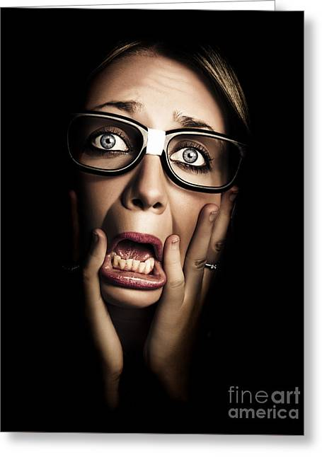 Dark Face Of Business Woman Under Stress And Fear Greeting Card by Jorgo Photography - Wall Art Gallery