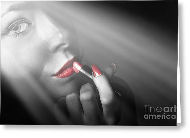 Dark Fashion And Make Up Beauty Greeting Card by Jorgo Photography - Wall Art Gallery