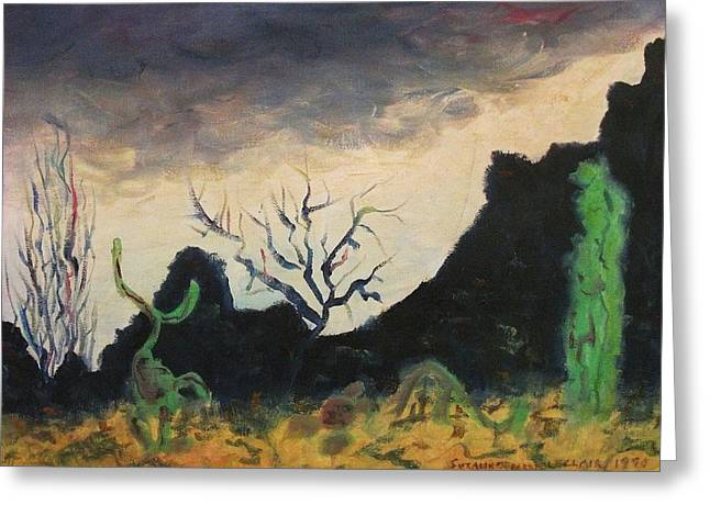 Dark Feeling Greeting Card by Suzanne  Marie Leclair