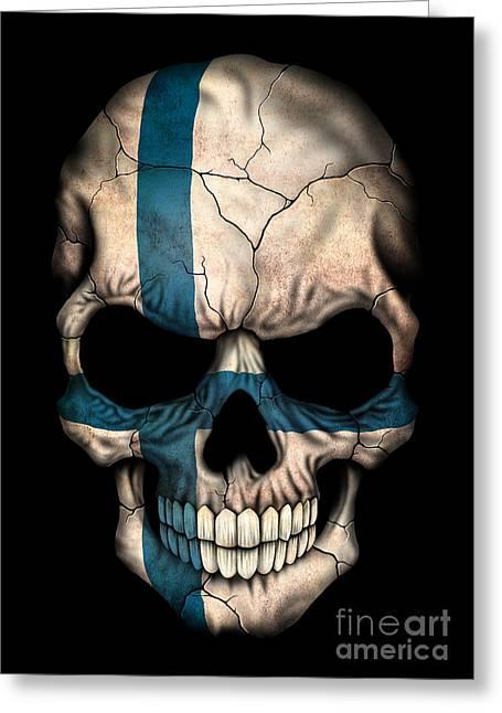 Finnish flag greeting cards fine art america dark finnish flag skull greeting card m4hsunfo