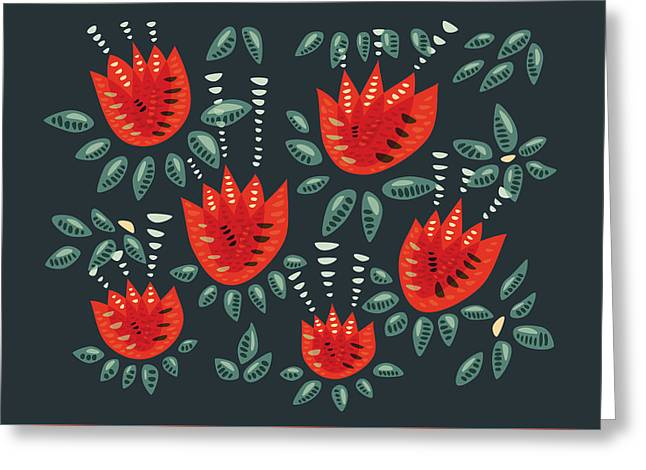Dark Floral Pattern Of Abstract Red Tulips Greeting Card