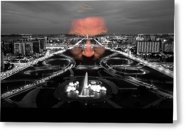 Dark Forces Controlling The City Greeting Card by ISAW Gallery
