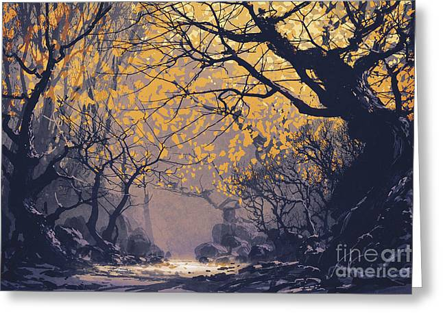 Greeting Card featuring the painting Dark Forest by Tithi Luadthong