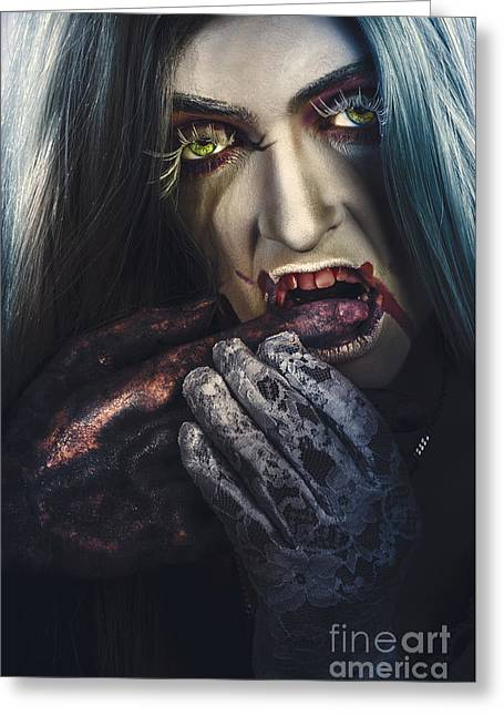 Dark Halloween Horror Portrait. Creepy Vampire Greeting Card