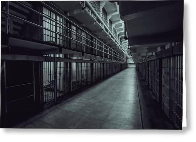 Dark Halls Of Alcatraz Greeting Card