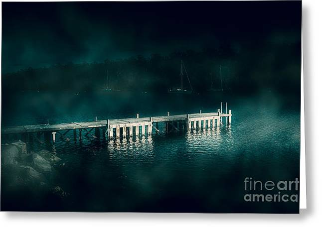 Dark Haunting Wooden Pier Greeting Card by Jorgo Photography - Wall Art Gallery