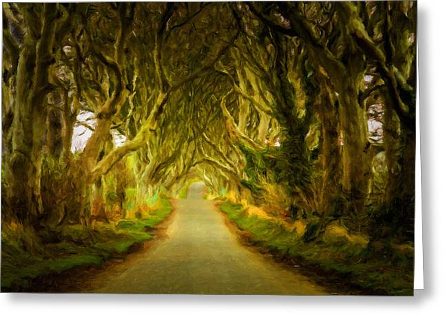 Dark Hedges Road Through Old Trees In Digital Oil Greeting Card by Steven Heap