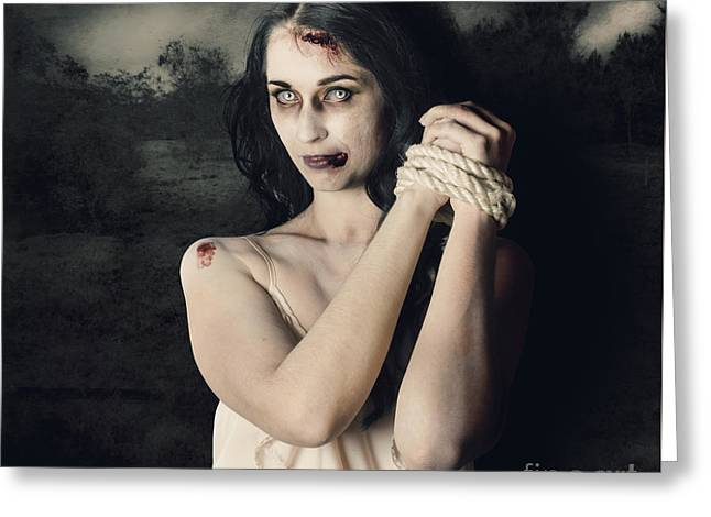 Dark Horror Scene Of An Evil Zombie Woman Tied Up Greeting Card by Jorgo Photography - Wall Art Gallery
