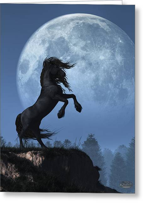 Greeting Card featuring the digital art Dark Horse And Full Moon by Daniel Eskridge
