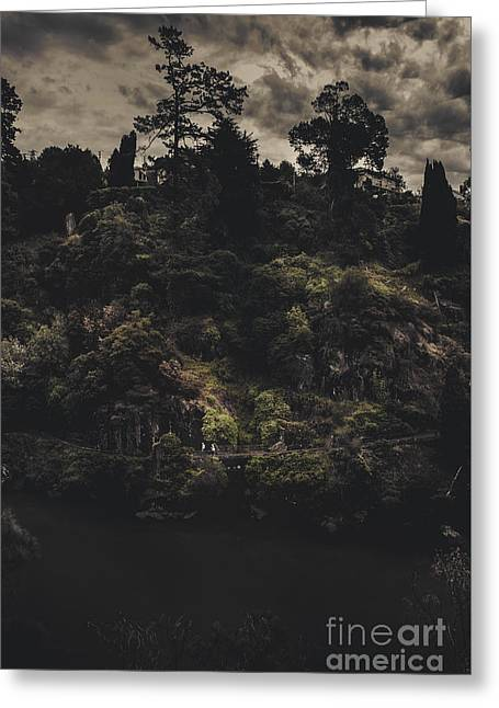 Dark Landscape Photograph Of Distant People Hiking Greeting Card by Jorgo Photography - Wall Art Gallery