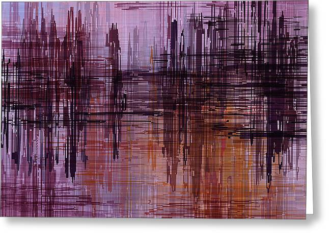 Greeting Card featuring the painting Dark Lines Abstract And Minimalist Painting by Ayse Deniz