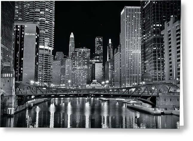 Dark Night Chicago Lights Greeting Card by Frozen in Time Fine Art Photography