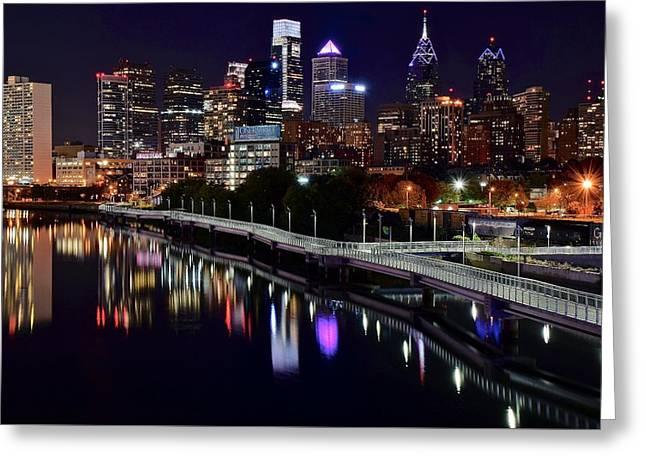 Dark Night In Philadelphia  Greeting Card